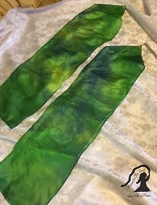 PRAISE Worship Streamers ~ FLOWING REAL SILK ~ PAIR of Small ~ Siloam Green