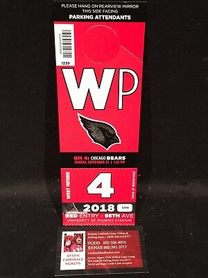 Arizona Cardinals vs Chicago Bears 9/23 Red WP West Preferred Lot Parking Pass