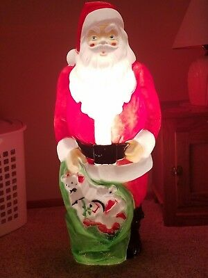 "Vintage 1968 Empire Santa Claus Plastic Lighted 46"" Tall NO RESERVE Local Pickup"