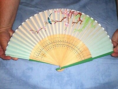 Old Chinese/Japanese Silk Wood Fan-Handpainted w/Cherry Blossoms/ Bird/ Bamboo