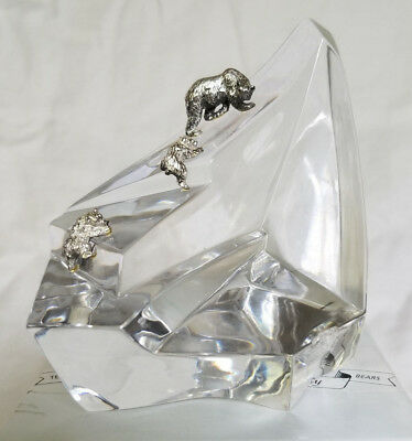 1987 Franklin Mint Crystal Glass Sculpture With 3 Serling Silver Bears