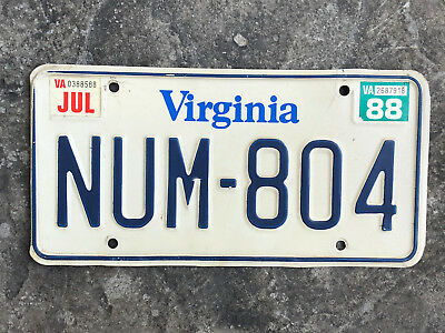 1988 Virginia License Plate #NUM-804 SAME DAY SHIPPING