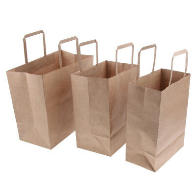 10 Pieces Brown Kraft Paper Carrier Bags with Flat Handles, Strong, 3 Sizes