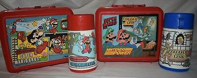 Lot Of 2 Vintage Mario Brothers Lunchboxes With Thermoses 88-89