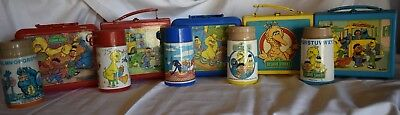 Lot Of 5 Vintage Sesame Street Lunchboxes With Thermoses