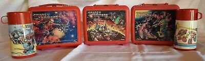 Lot Of 3 Vintage Transformers Lunchboxes With Thermoses 84,86,87