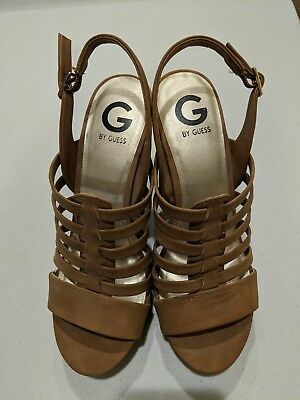 G BY GUESS Juto6 Caged Gladiator Sandals, Medium Natural, 10