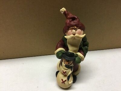 "Santa Figurine Wearing Wire Rimmed Glasses & Snowman 3"" Tall Signed Gail West"