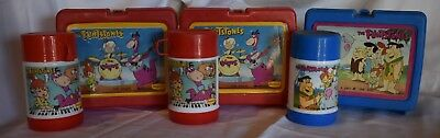 Lot Of 3 Vintage Flintstone's Lunchboxes With Matching Thermoses Denny's
