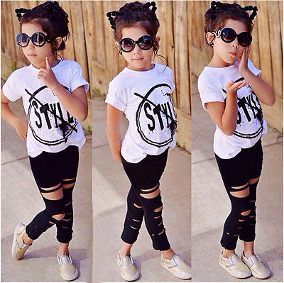 UK Toddler Kids Girls Clothes Style T-shirt Tops Pants Leggings Outfits 2Pcs Set