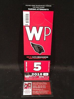 Arizona Cardinals v Seattle Seahawks 9/30 Red WP West Preferred Lot Parking Pass
