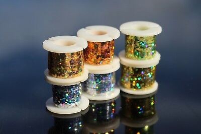 2 Spools 6 Colors Wide Flashabou Holographic Tinsel Flat Crystal Flash Fly Tying