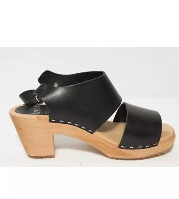 FUNKIS| Tilda Swedish Black Leather Wooden Clogs Block Heels| 38 7 |Minimalist