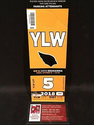 Arizona Cardinals vs Seattle Seahawks 9/30 Yellow YLW Lot Parking Pass Tickets