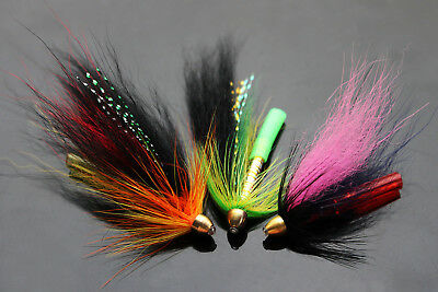 12 pcs 3 Colors Tube Fly Set For Salmon Trout Steelhead Fly Fishing Flies Lures