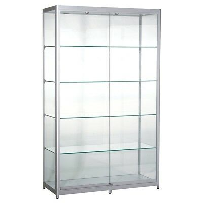 Glass shop cabinet -Aluminum and Glass Tower Showcase LED Lighting & Lockable