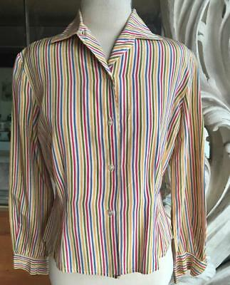 Vintage 1950s Striped Rayon Fitted Long Sleeve Rockabilly Blouse 40 bust