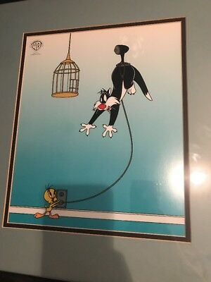 Warner Brothers Sericel Sylvester Unplugged Tweet 1995 framed art COA ANIMATION