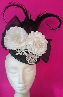 Black And White Flowers Feathers Hat Fascinator Derby Day Races Melbourne Cup