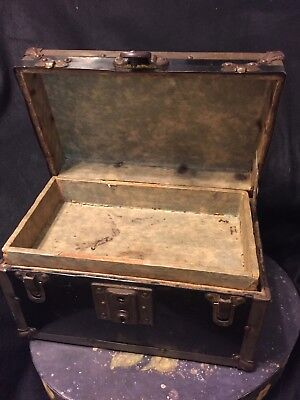 Antique  Black Metal Small Doll Trunk  Brass Hardware With Tray  Locks