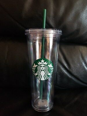 NEW STARBUCKS 2018 COLD CUP VENTI CLEAR ACRYLIC Reusable 24oz Tumbler + Straw