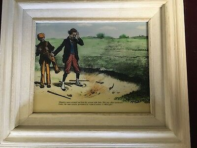 Fun Hand Colored Etching on Resin of Edwardian Golf Scene - After Charles Gibson