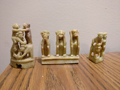 Chinese Hand Carved Soap Stone set of 3 monkeys