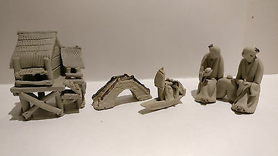 4 Mud Men Figurines Bonsai Chinese men hut bridge boat