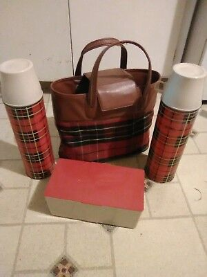 Vintage King-Seeley Thermos Co. Thermos and Sandwich Tote in Red Plaid