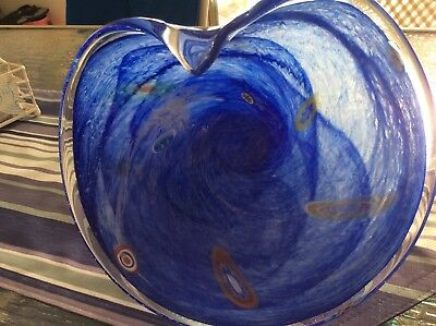 Blue coloured glass dish. Very attractive dish for fruit or decorations as shown