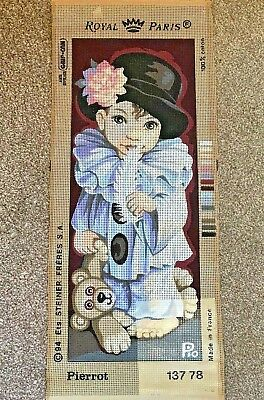 NEW Royal Paris Tapestry Canvas ~ Pierrot ~ Child with Teddy (04/5)