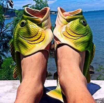 Creative Funny Slippers Fish Shape Beach Women Men Summer Flip Flop Unisex Gift