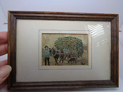VINTAGE FRAMED MINATURE  EMBROIDERY ON SILK HORSE AND CART (ref42.9)
