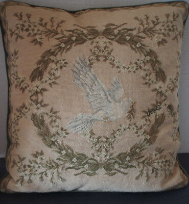 Vtg Antique French Hand Stitch Needlepoint Peace Dove Figure Olive Branch Pillow