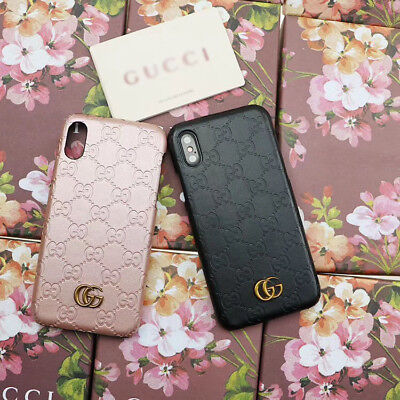 NEW Embossed GG style case cover for Apple Iphone X 8 7 6 Black/Pink With Box