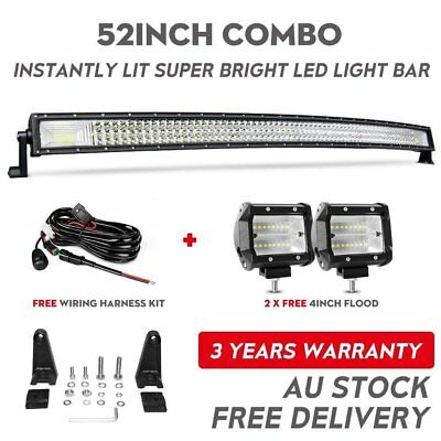 """52INCH 3600W Curved LED Work Light Bar+4"""" 80W Spot Flood for Jeep Truck ATV 50''"""