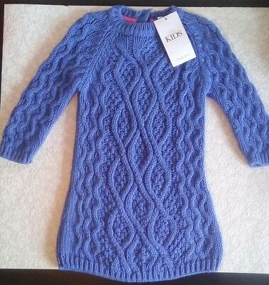 Marks And Spencer Baby Girls M&s Long Sleeve Knit Jumper Dress ~ 12-18 Months