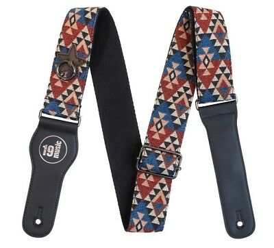Multicoloured Native American Premium Cotton Adjustable Guitar Strap Capo Holder