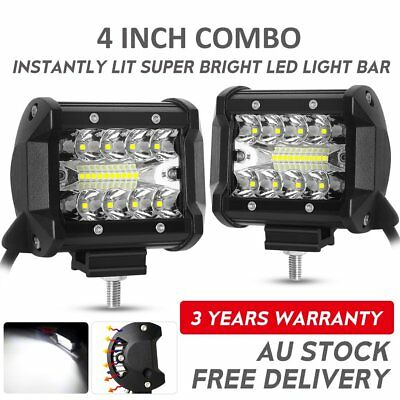 Pair 4inch CREE LED Work Light Bar Spot Flood OffRoad Driving 4WD 4x4 Reverse