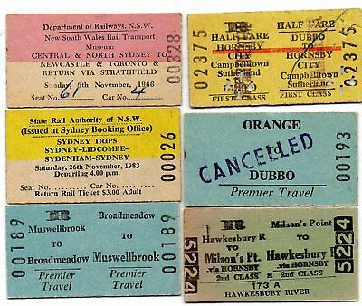 NSW Railway Tickets x 6 Mixed stations