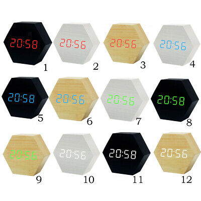 LED Sound Control Hexagon Wood Alarm USB & Battery Digital Table Desk Clock