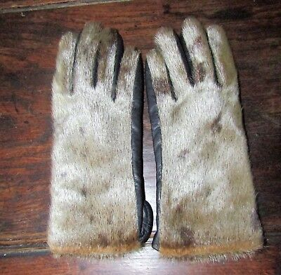 A Vintage Pair Of Black Leather Gloves With real Fur Outer Handmade Unusual