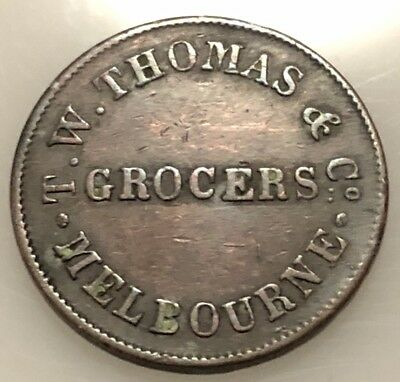 Token Melbourne 1854 T.W Thomas & Co Grocers Penny
