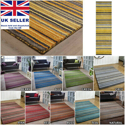 Small Extra Large Striped Multi Coloured 100% Pure Wool Hand Woven Rugs Carpet