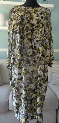 💖 Ladies Together @ Kaleidoscope Yellow & Olive Print Overlay Dress Size 18