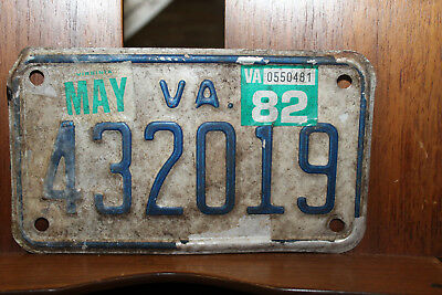 1982 Virginia Motorcycle License Plate May  Rough as a Night in Jail