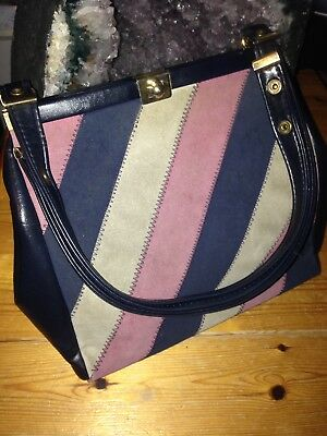 LADIES 1960s VINTAGE LEATHER & SUEDE BLUE/PINK/CREAM STRIPE CLASPED BAG