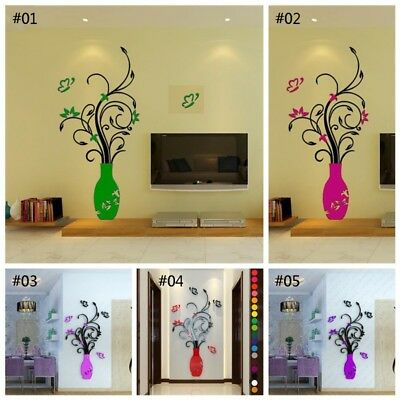 UK DIY 3D Vase Flower Tree Crystal Arcylic Wall Stickers Decal Home Room Decor
