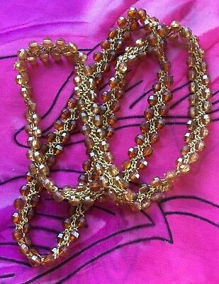 Vintage Antique Gold Thread Brown Lucite Beaded Necklace Vtg Estate Find Boho