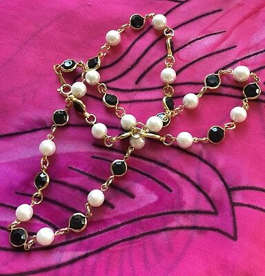 Vintage Antique Gold Black Crystal Pearl Beaded Chain Necklace Vtg Estate Find
